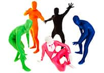 five men in bright morphsuits