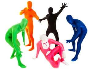 Five men in colourful morphsuits
