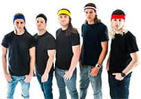 five men in jeans, T-shirts and an array of mullets