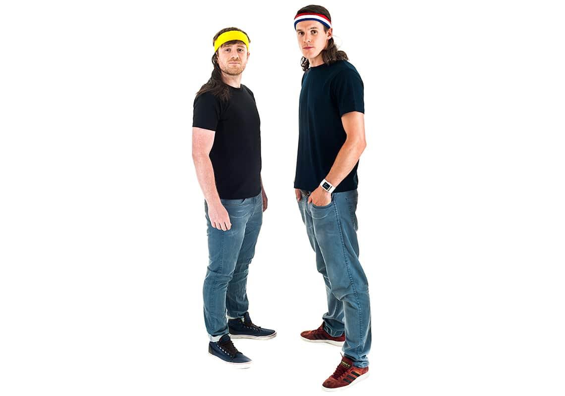 two fine young gentlemen wearing mullets
