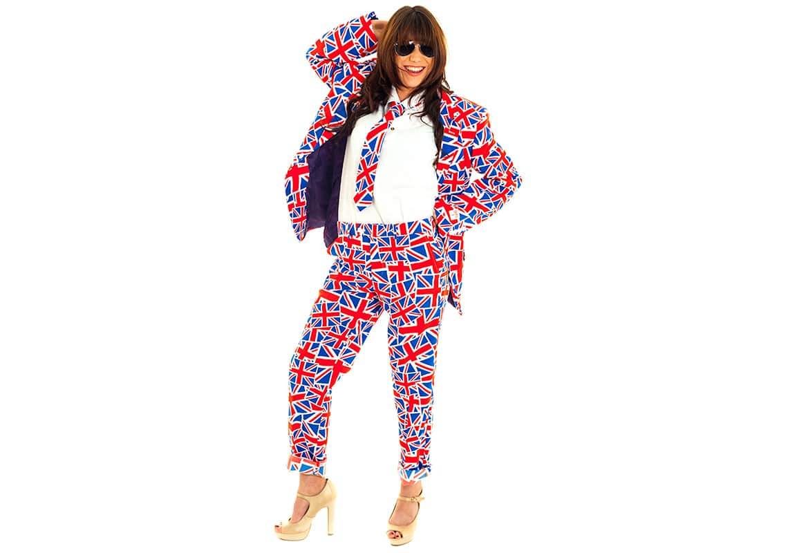 gorgeous woman in union jack suit