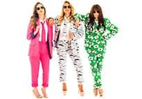 three cool women hanging out in colourful suits