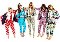 five beauties chilling out in outrageous suits