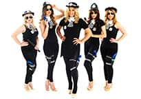 five sexy policewomen with hands on hips