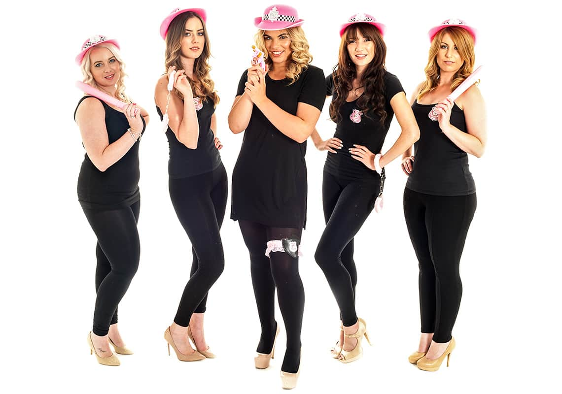 five gorgeous policewomen with pink truncheons