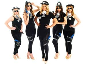Five women in police women outfits