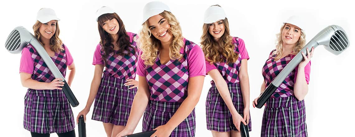 five sexy female golfers wearing purple outfits with white visas and holding inflatable golf clubs