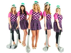 Five women in pub golf costumes