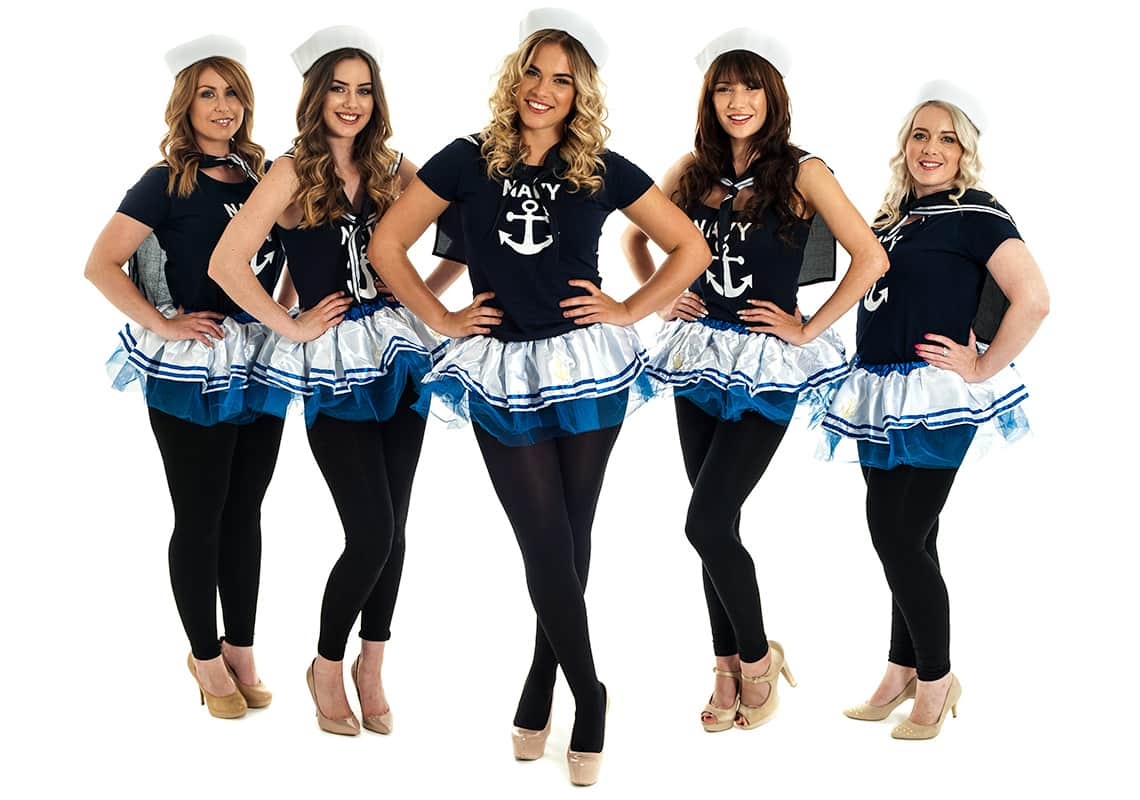 five sexy sailor girls in navy hats and tutus