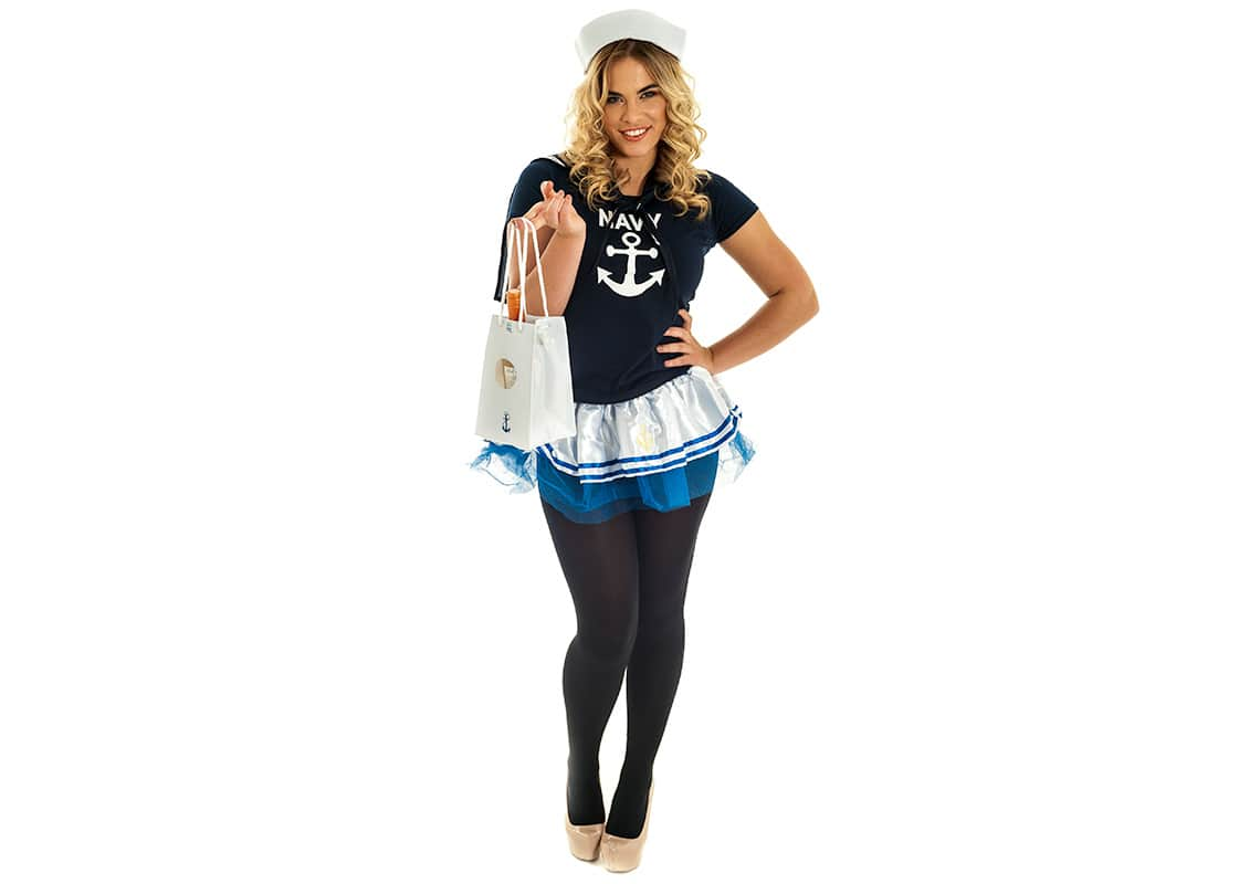 sexy blonde sailor girl with a nautical wine bag