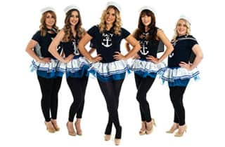 five sexy sailor girls wearing short blue and white tutus