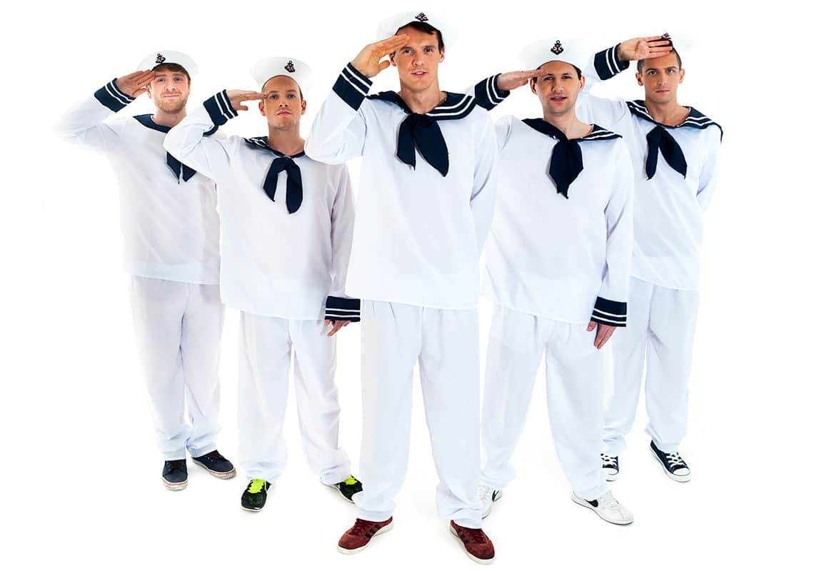 a stag group dressed as sailor and saluting
