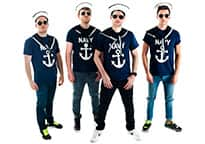 a stag group dressed in navy t-shirts with anchors on and sailor hats
