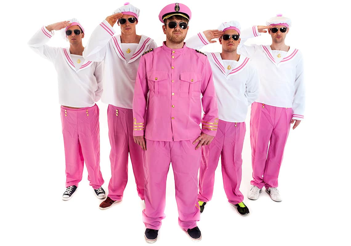 a stag group dressed in white and pink sailor outfits, with the central stag in a full pink costume