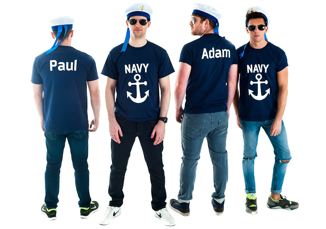 stag group in navy sailor t-shirts customised with their names