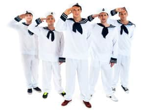 Five men saluting in sailor costumes