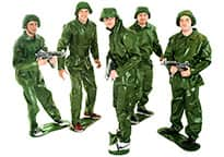 five men posing in Toy Soldier costumes