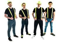 Four men in yellow neon braces, hats and glasses