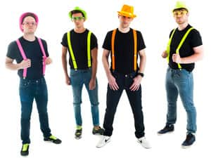 Four men in neon braces, hats and glasses