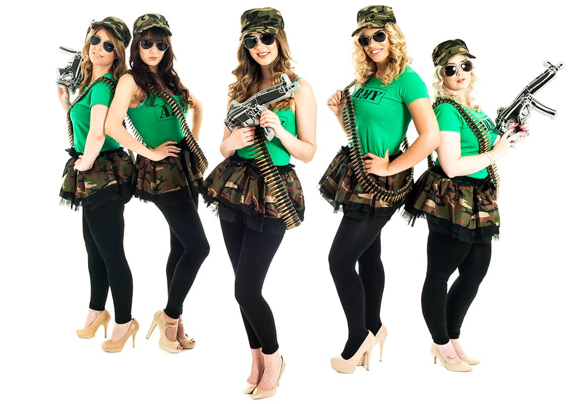 five women wearing hen party army costumes