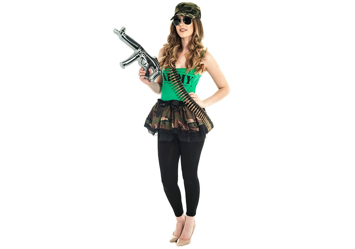 a young woman dressed in sexy hen party army gear