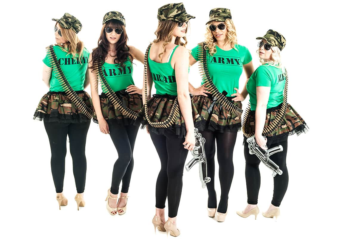 back shot of five gorgeous women in hen party army costumes