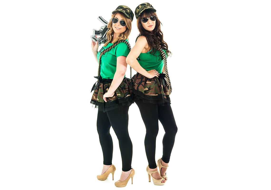 two women in hen party army costumes with camouflage tutus