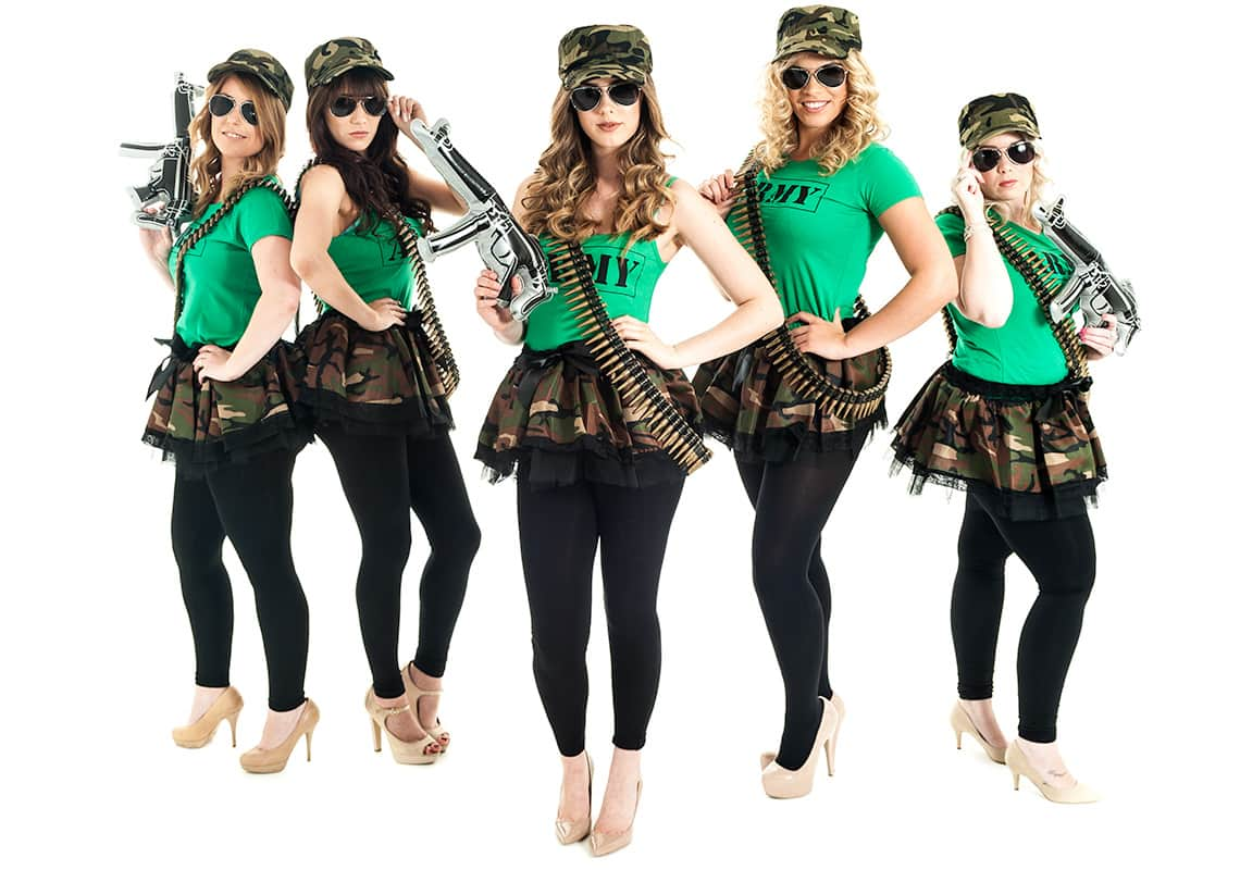 five women in green army costumes with inflatable guns