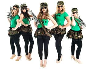Five women in army costume