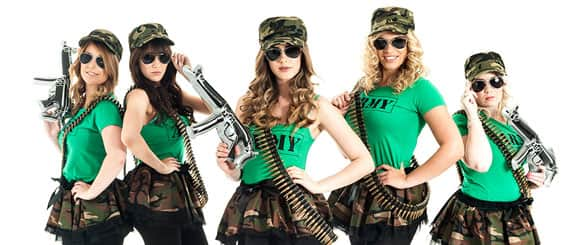 five sexy army girls in short camouflage tutus