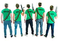 a view of the back of five men wearing army t-shirts customised with their names