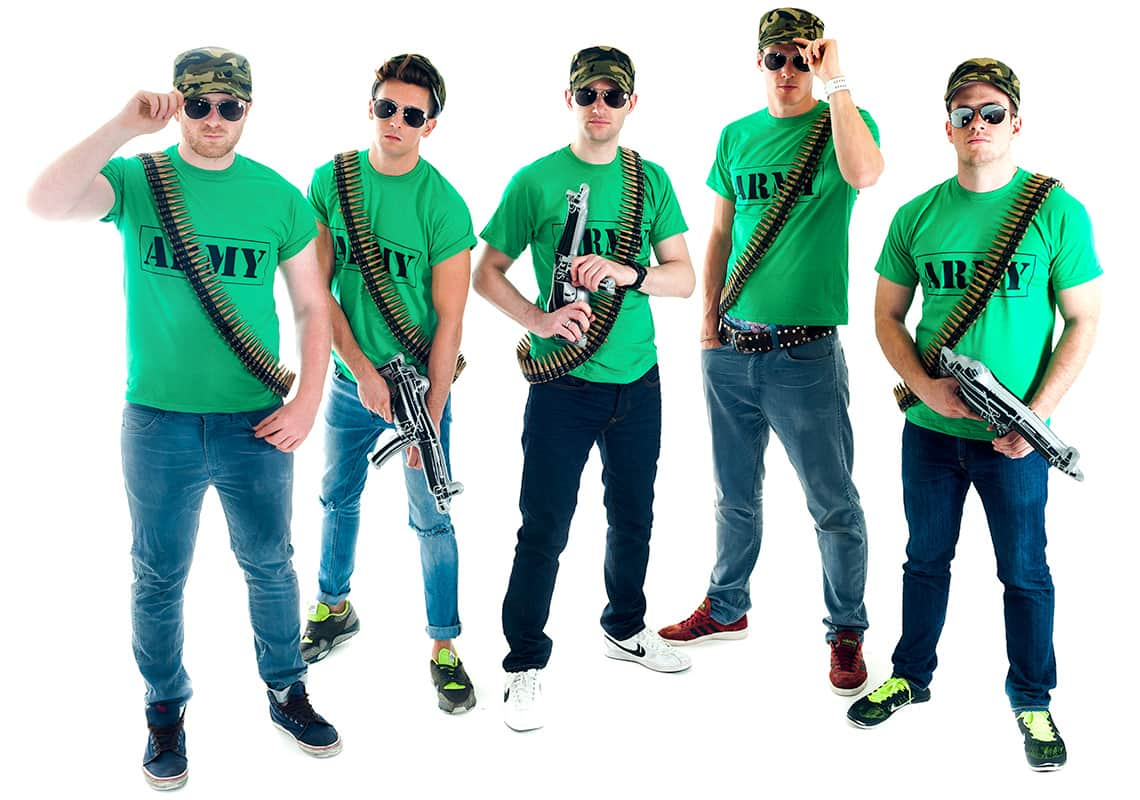 five men in army t-shirts and accessories, tilting down their aviator sunglasses