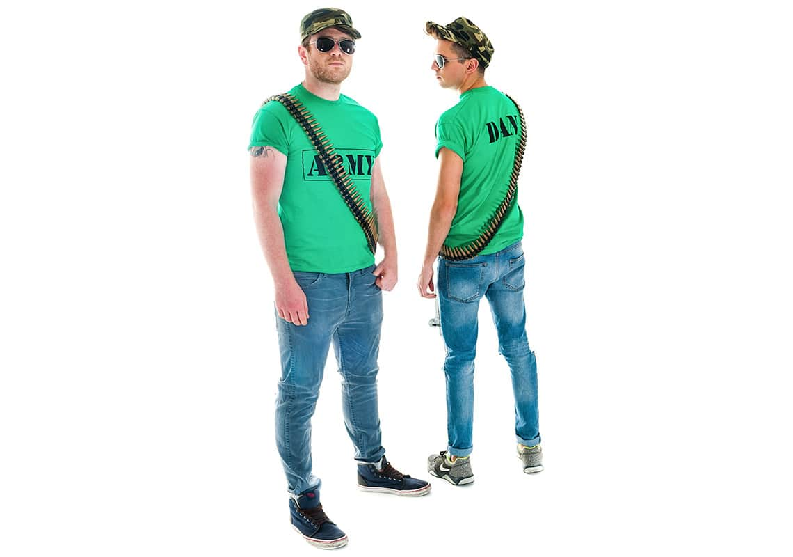two men in green army t-shirts, caps and sunglasses, one facing forwards and the other back