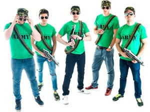 Five men in army t-shirts and bullet belts, holding inflatable guns