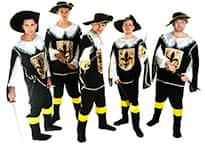 five men dressed in musketeer costumes with swords