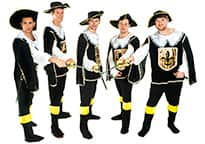 five men dressed as musketeers - all swords in