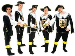 Five men dressed as musketeers
