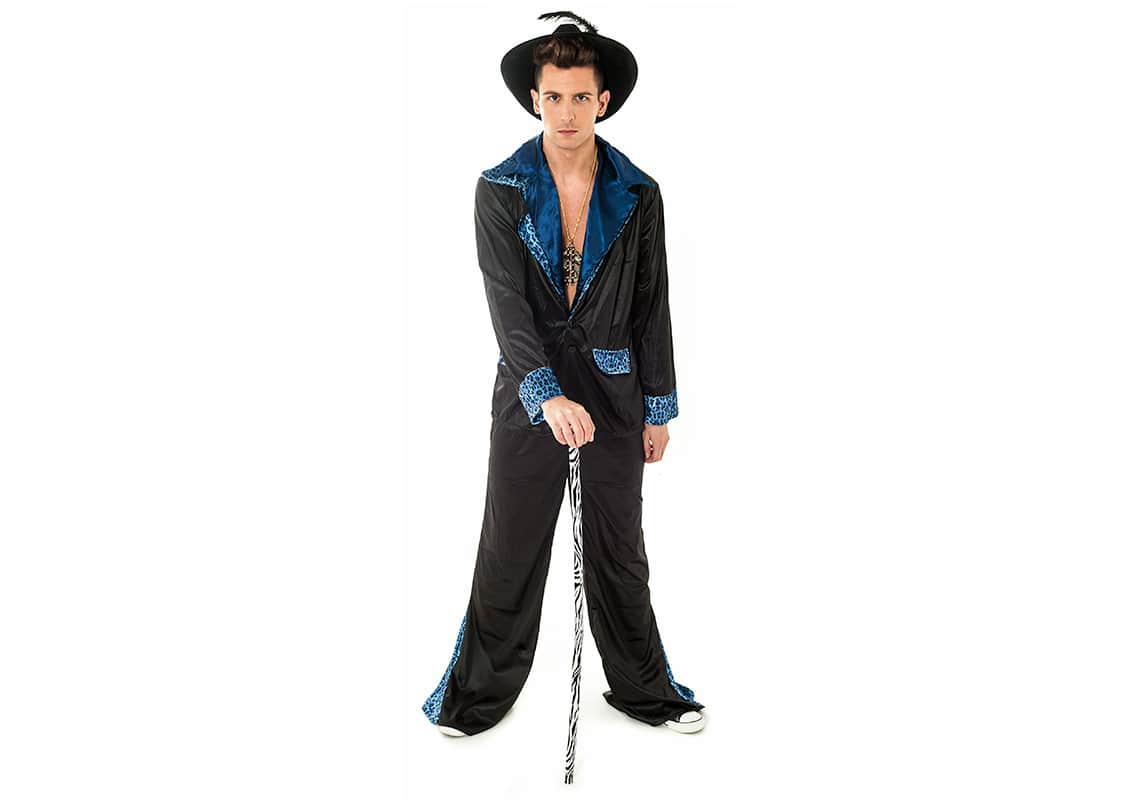 man in black pimp costume with a cane
