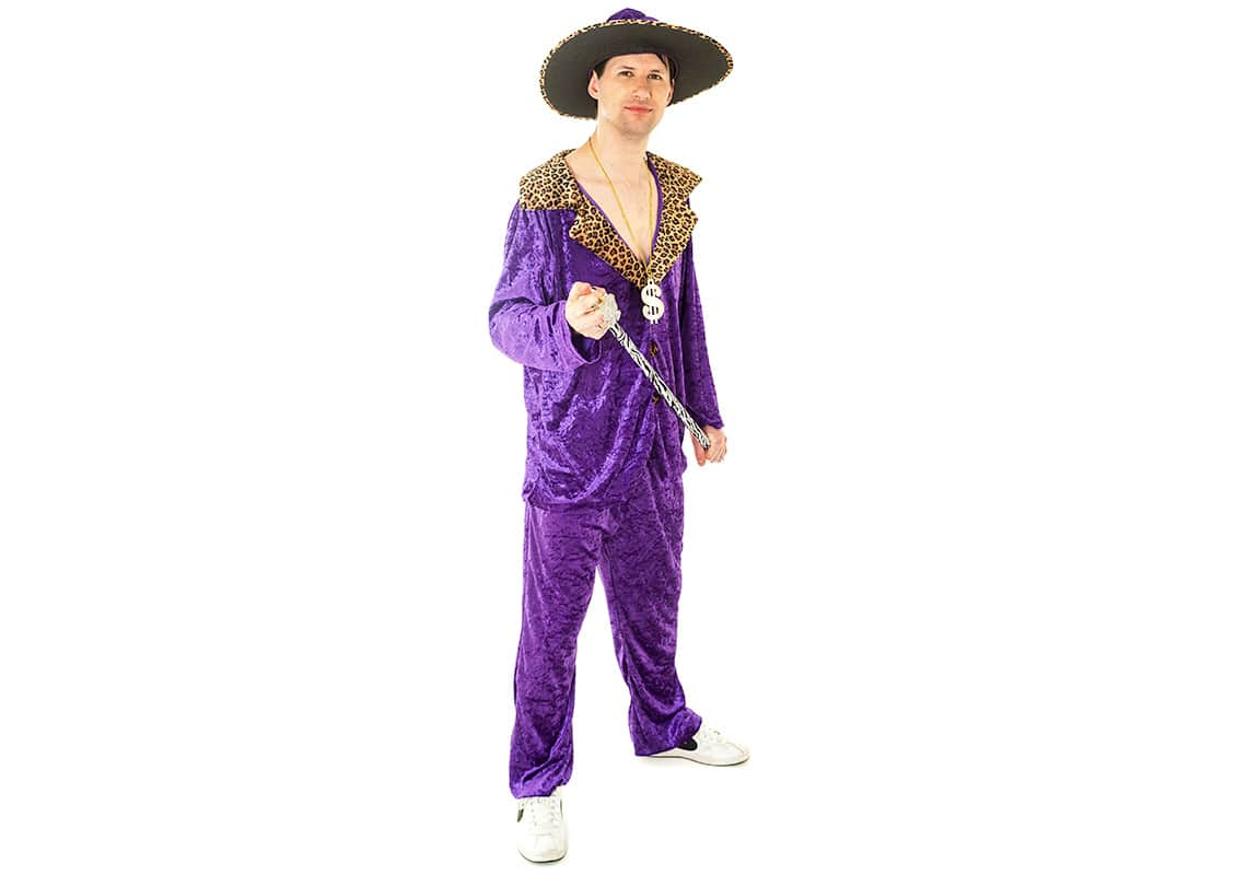 man in crushed purple velvet pimp costume