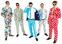 five men looking outrageously cool in colourful patterned suits
