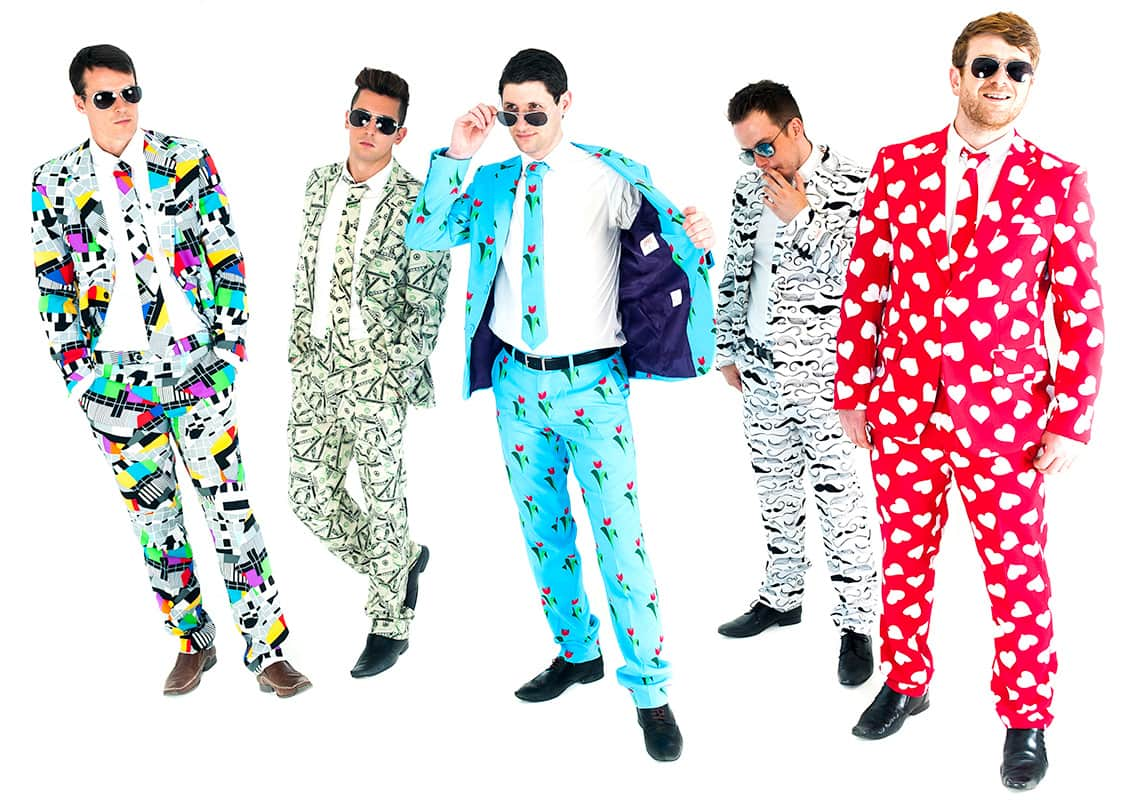 five blokes in a stag night wearing crazy suits
