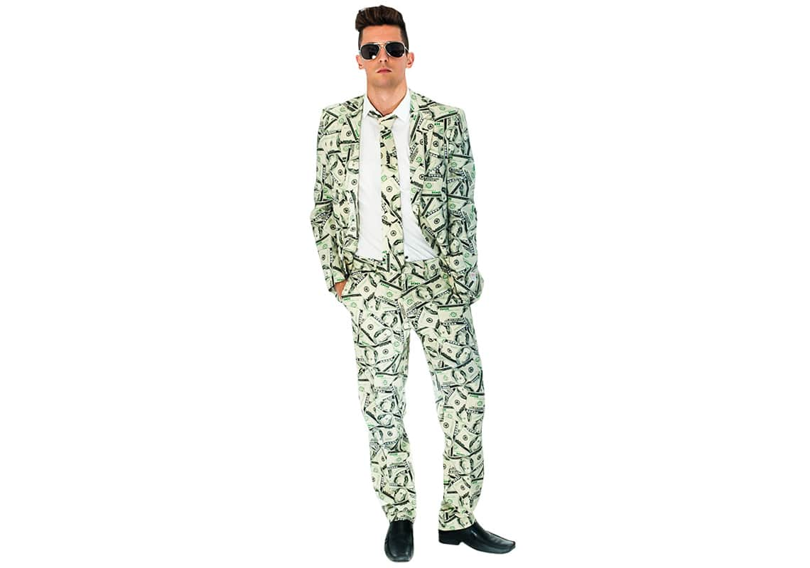 a man in a suit covered in dollar bills, baby