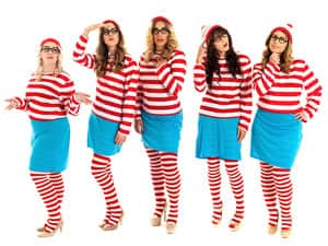 Five women in Where's Wally costumes