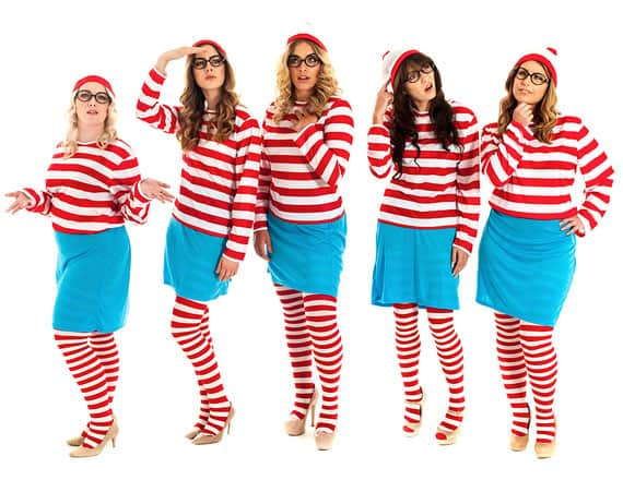five women dressed as wenda from where's wally