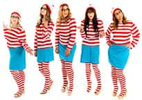 five women dressed in where's wally costumes