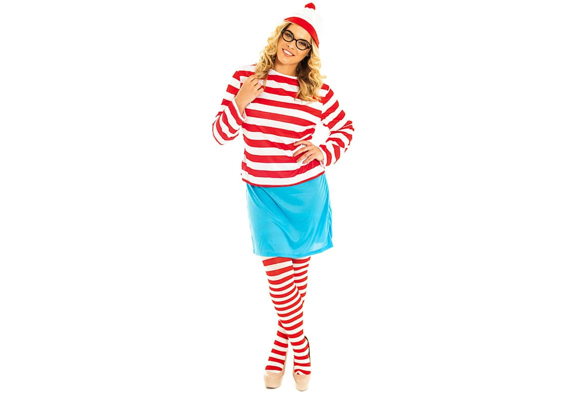 five women dressed in where's wally costumes looking around confused