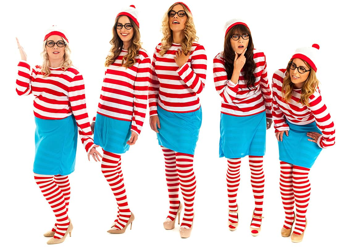 five women dresses in where's wenda costumes smiling
