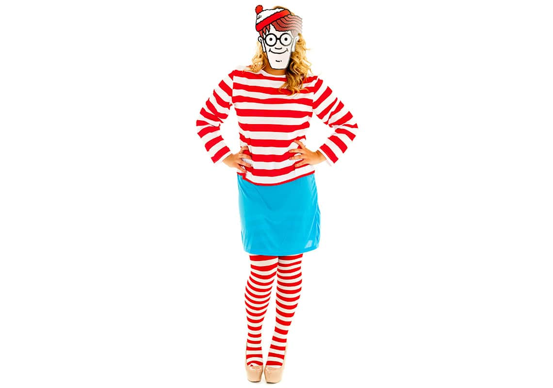 woman in where's wally costume and mask