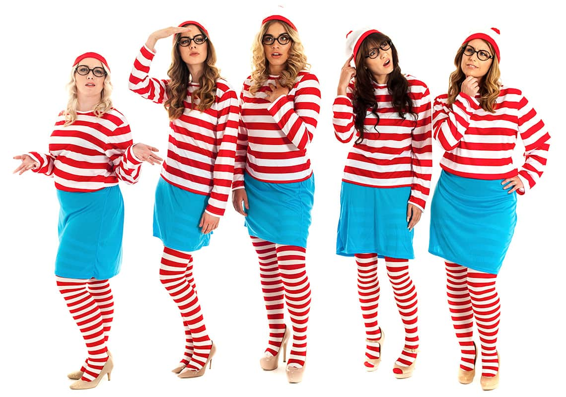 five women dressed up as where's wally for a hen night