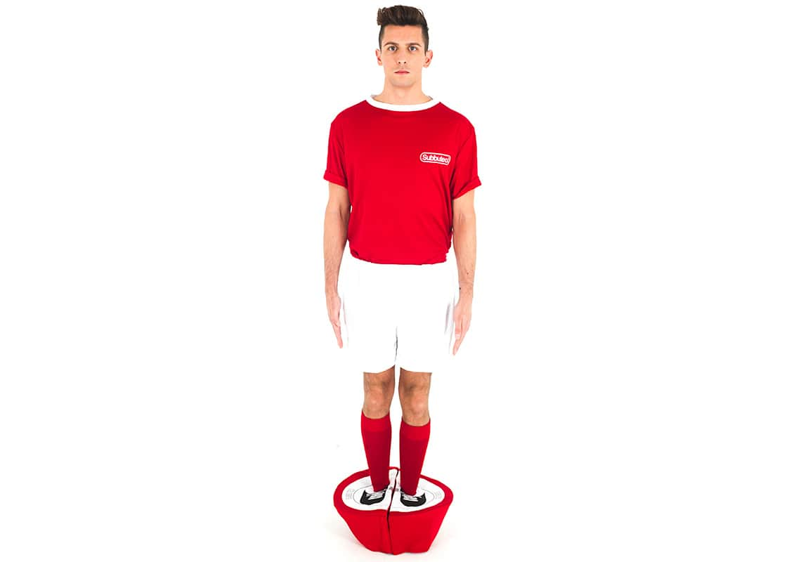 a man in a red Subbuteo costume